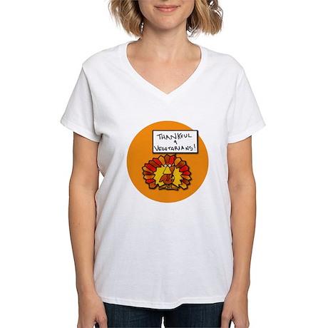 Thankful 4 Vegetarians Women's V-Neck T-Shirt
