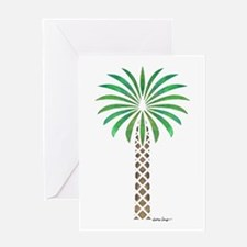 Tribal Canary Date Palm Tree Greeting Cards