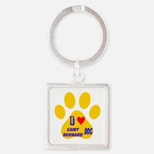 I Love Saint Bernard Dog Square Keychain