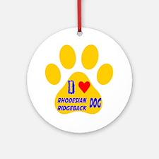I Love Rhodesian Ridgeback Dog Round Ornament