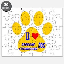 I Love Redbone Coonhound Dog Puzzle