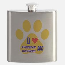 I Love Pyrenean Shepherd Dog Flask