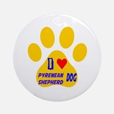 I Love Pyrenean Shepherd Dog Round Ornament