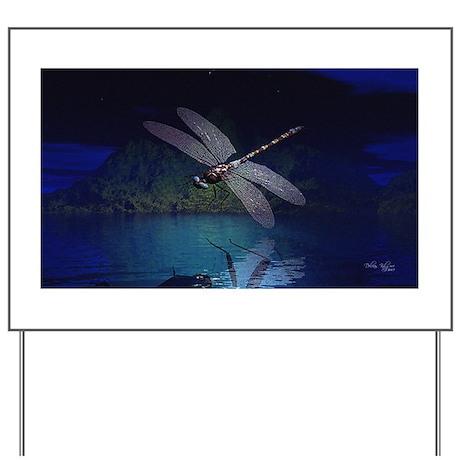 Dragonfly at Night Yard Sign
