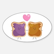 Peanut Butter Loves Jelly Sticker (oval)