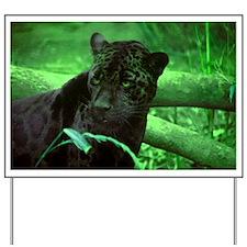 Black Jaguar Yard Sign