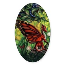 """""""Fairy Dragon"""" Red Fairy Dragon Oval Decal"""