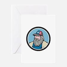 Hillbilly Man Beard Circle Cartoon Greeting Cards