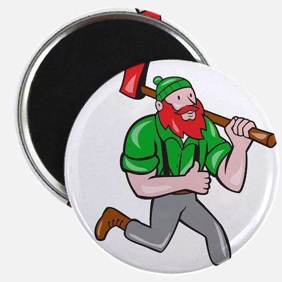 Paul Bunyan Lumberjack Axe Running Cartoon Magnets