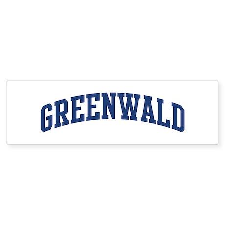 GREENWALD design (blue) Bumper Sticker