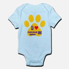 I Love Polish Lowland Sheepdog Dog Infant Bodysuit