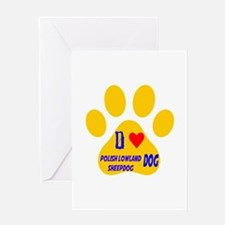 I Love Polish Lowland Sheepdog Dog Greeting Card