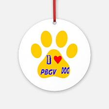 I Love PBGV Dog Round Ornament