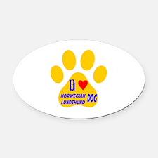 I Love Norwegian Lundehund Dog Oval Car Magnet