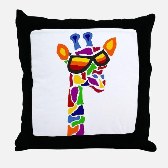 Giraffe in Sunglasses Throw Pillow