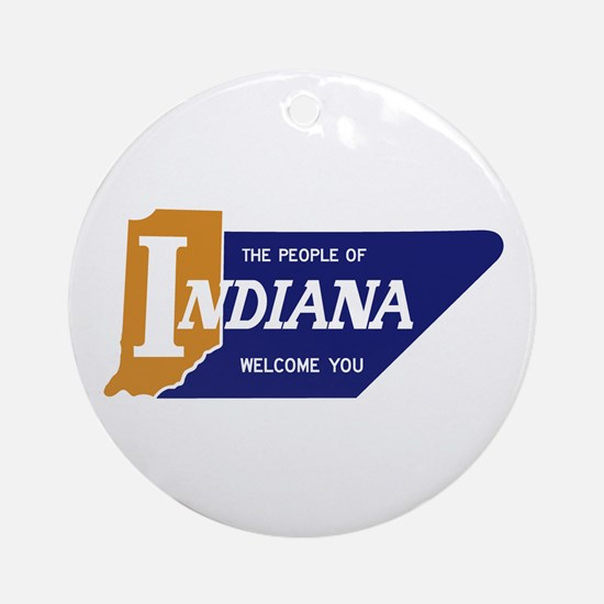 """The People of Indiana Welcome You"" Round Ornament"