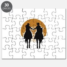 Cowboy And Cowgirl Sunset Puzzle