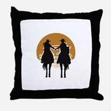 Cowboy And Cowgirl Sunset Throw Pillow