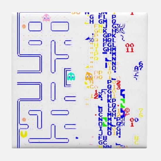 Pac Man Glitch Design Tile Coaster