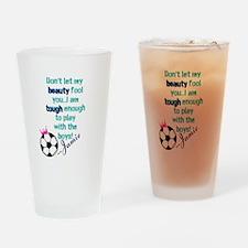Soccer Princess Girl Drinking Glass