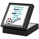 Girls soccer Square Keepsake Boxes