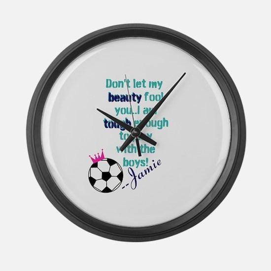 Soccer Princess Girl Large Wall Clock