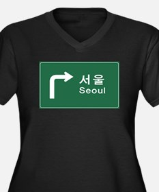 Seoul, South Women's Plus Size V-Neck Dark T-Shirt