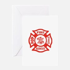 Fire Rescue Maltese Cross Greeting Cards