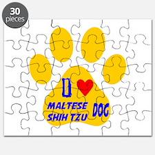 I Love Maltese Shih Tzu Dog Puzzle