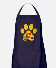 I Love Korean Jindo Dog Apron (dark)