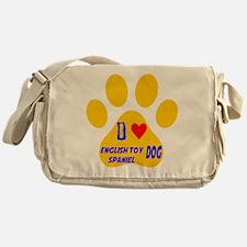 I Love English Toy Spaniel Dog Messenger Bag