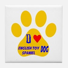I Love English Toy Spaniel Dog Tile Coaster