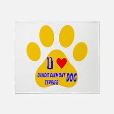 I Love Dandie Dinmont Terrier Dog Throw Blanket