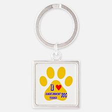 I Love Dandie Dinmont Terrier Dog Square Keychain