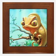 Cute Chameleon Framed Tile