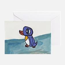 Unique Penguin sledding Greeting Card