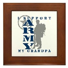 I Support Grandpa 2 - ARMY Framed Tile