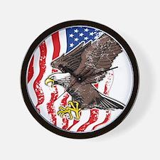 USA Flag and Bald Eagle Wall Clock