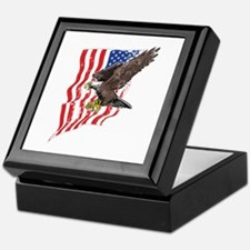 USA Flag and Bald Eagle Keepsake Box
