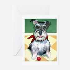 Schnauzer & Red Ball Greeting Cards (Pk of 10)