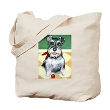 Schnauzer & Red Ball Tote Bag