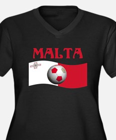 TEAM MALTA WORLD CUP Women's Plus Size V-Neck Dark