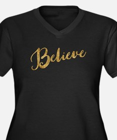 Gold Look Believe Plus Size T-Shirt