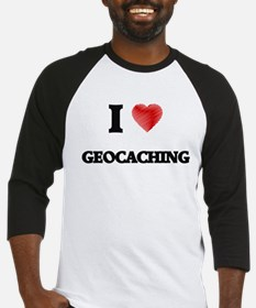 I Love Geocaching Baseball Jersey