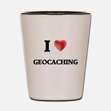 I Love Geocaching Shot Glass