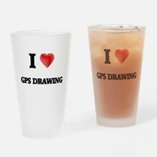 I Love Gps Drawing Drinking Glass