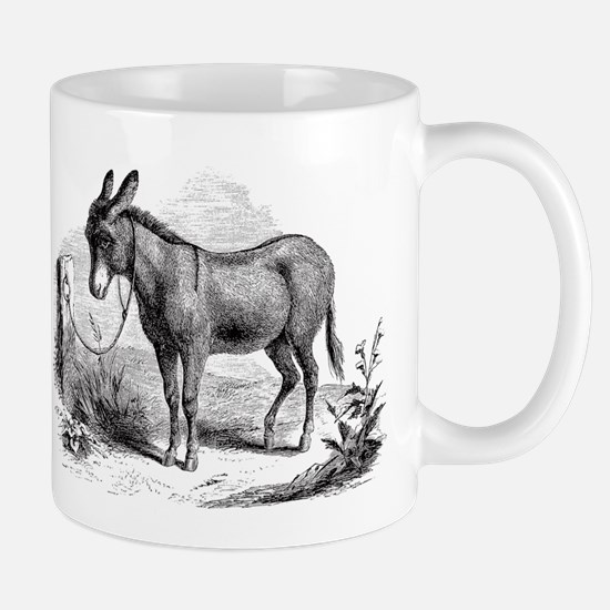 Vintage Donkey Black White Illustration Mugs