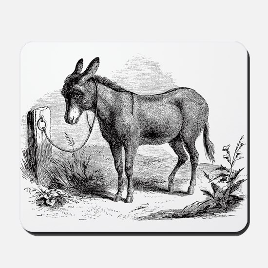 Vintage Donkey Black White Illustration Mousepad