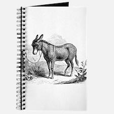 Vintage Donkey Black White Illustration Journal
