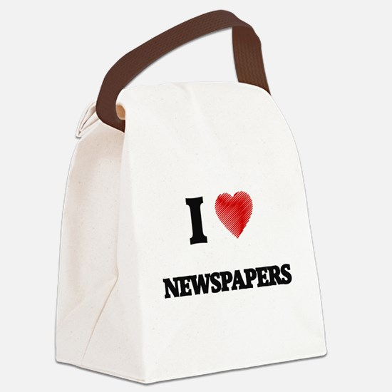 I Love Newspapers Canvas Lunch Bag